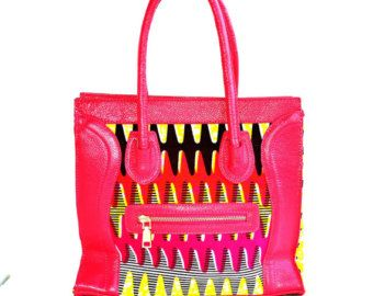 Cartable imprimé africain sac rose sac besace par ZabbaDesigns