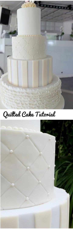 Quilted Cake Tutorial... Tags: fondantcake, fondant, cake, quiltedcake, tutorial, dessert, weddingcake, weddingcake