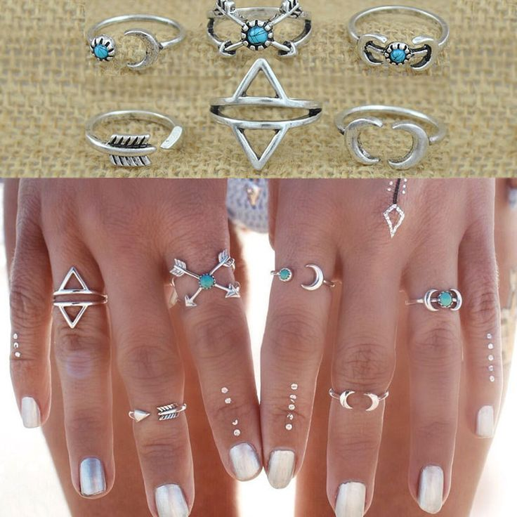 2015 New Bohemia Vintage Punk Boho Rings For Women Beach Unique Carving Tibetan Silver Plated knuckle Joint Ring Set 6PCS/Set