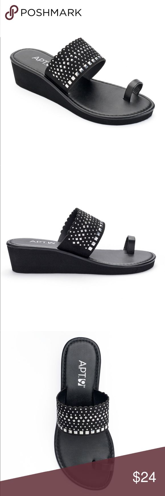 Apt. 9 Studded Wedge Flip-Flops Black New Decorated with silver-tone studs in a mix of shapes and sizes, these women's Apt. 9 sandals add a fashionable touch to your warm-weather wardrobe.  SANDAL FEATURES •Silver-tone studs •Toe loop  SANDAL CONSTRUCTION •Polyester faux-leather upper •EVA outsole  SANDAL DETAILS •Open toe •Slip on •1.5-in. heel •Wipe clean  Sizes: XL (11)  New with tags. Apt. 9 Shoes Sandals