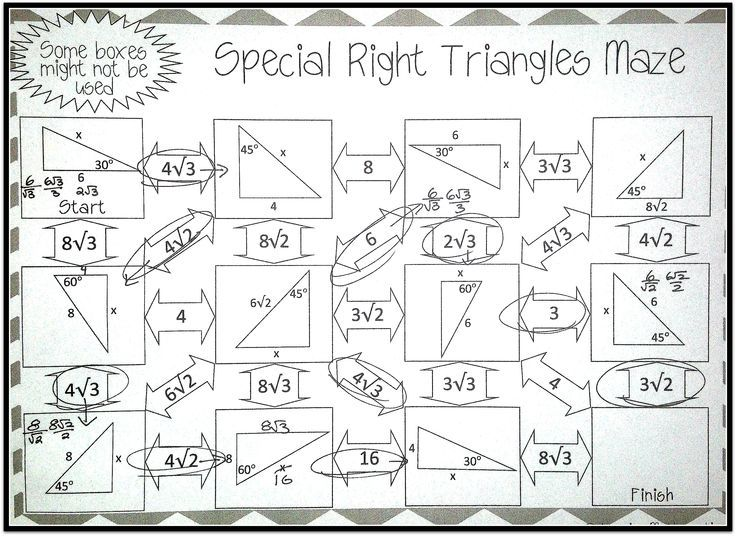 Printables Solving Right Triangles Worksheet Answers 1000 ideas about special right triangle on pinterest this self checking maze has 11 problems that use the relationships in triangles and to solve for missing side lengths not
