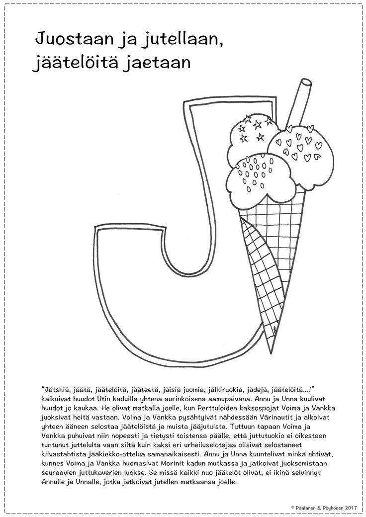 J-kirjain, tarina ja värityskuva