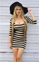 Sexy seamless black and Tan striped mini dress is stretchy and fitted, sexy fitted seamless striped mini dress is a very instyle dress, hot fitted dress is super sexy for casual dress or going out dress, stylish seamless dresses, sexy pencil dresses