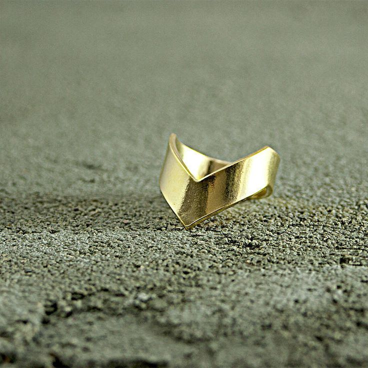 Wide V  Gold Ring,Urban Style,Street Chic,layered ring,industrial,urban chic, stylish gold ring,trendy gold ring,gift for her,chic ring, by FreebirdBracelets on Etsy