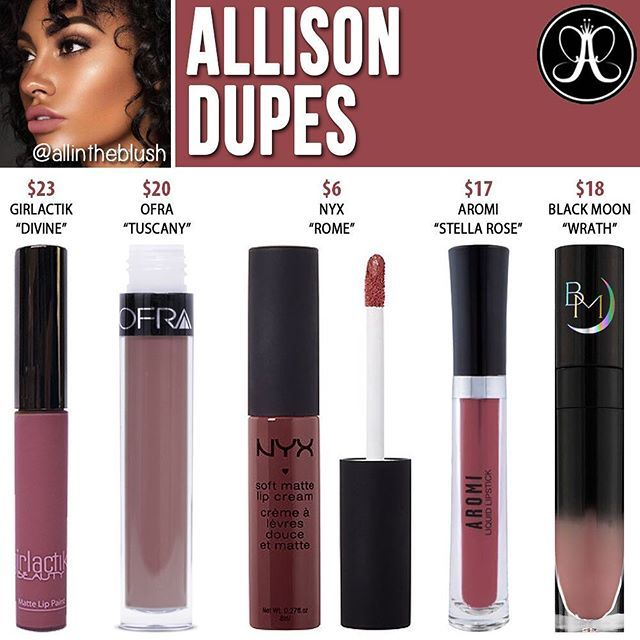 #ALLISON by @anastasiabeverlyhills DUPES ARE HERE Please leave me your dupe requests in the comments! #allintheblush #makeupslaves #trendmood #vegas_nay #makeup #beauty #hudabeauty #slave2beauty #insta_makeup #norvina #glamrezy #amrezy #makeupartist #motd #mua #makeupaddict #wakeupandmakeup #makeup #dupethat #anastasiabeverlyhills #abh #dupe #lipstick #dupes