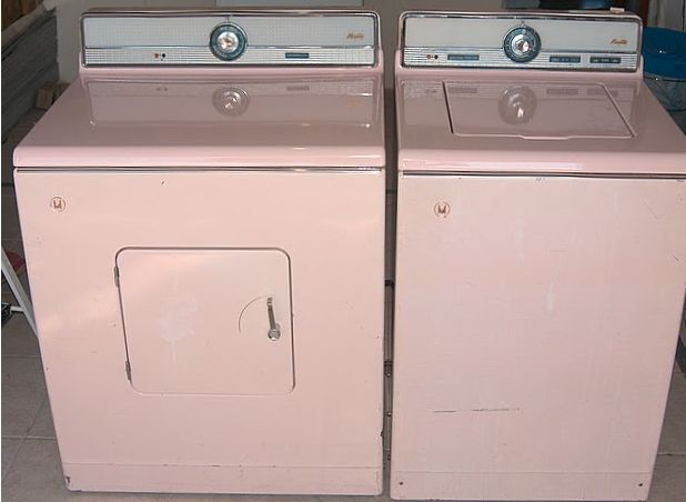 old, but still pink! That is a really small door!!--- I want pink and blue appliances again!