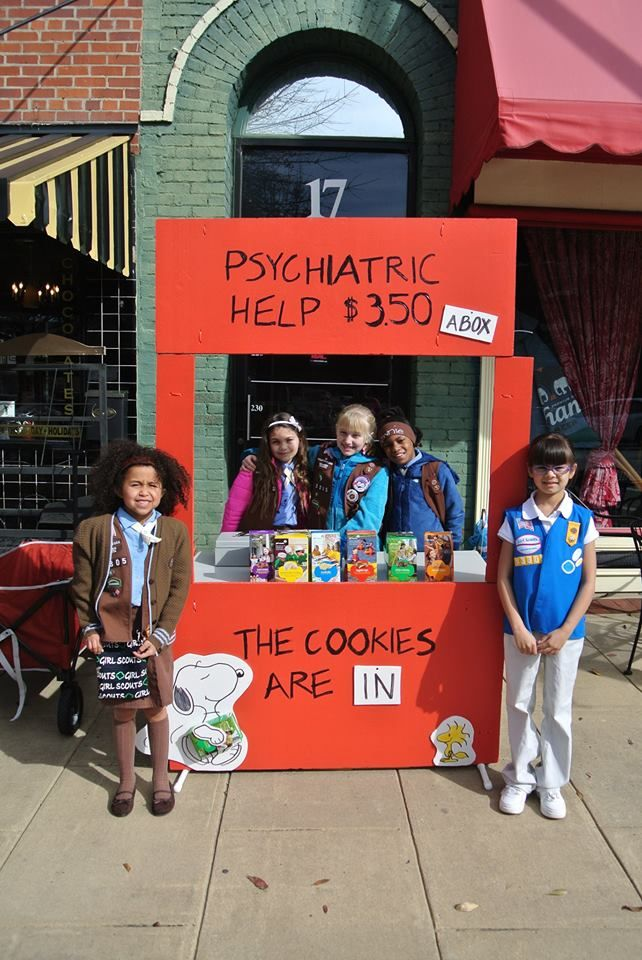 Troop 13305 at their Girl Scout Cookie Booth | #BlingMyBooth #GirlScoutCookies