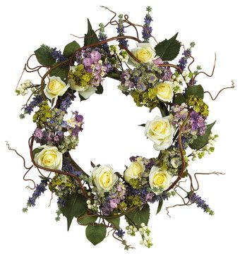 "24"" Hydrangea Rose Wreath farmhouse-wreaths-and-garlands"