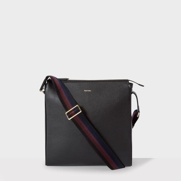 Paul Smith Men's Black Leather 'City Webbing' Small Cross-Body Bag (7,340 MXN) ❤ liked on Polyvore featuring men's fashion, men's bags, mens leather cross body bags, men's crossbody bag, mens bag, mens cross body bag and mens leather bags