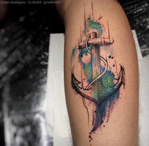 Esta aquarela âncora tatuagem na panturrilha
