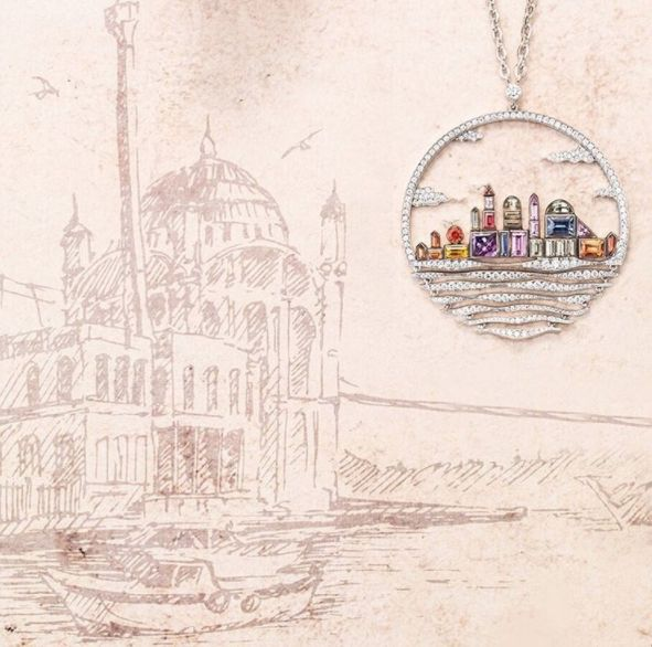 With a history of thousands of years, Istanbul became the capital of three empires; Roman, Byzantine and Ottoman Empire. The footprints of these distinctive cultures have been the inspiration of many Gilan designs like the Gilan Istanbul Pendant. Specially cut stones embodies the city skyline and the Bosphorus .. #gilanistanbul #BosphorusDreams