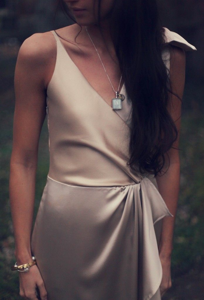 burda cascade dress in champagne silk wool and silk charmeuse