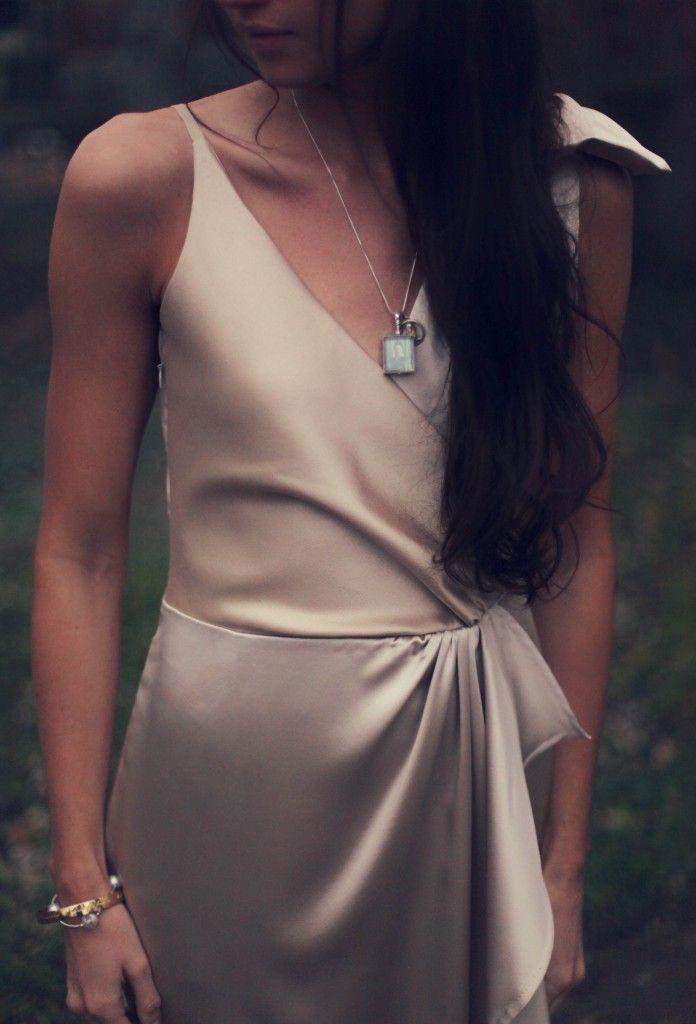 burda cascade dress in champagne silk wool and silk charmeuse