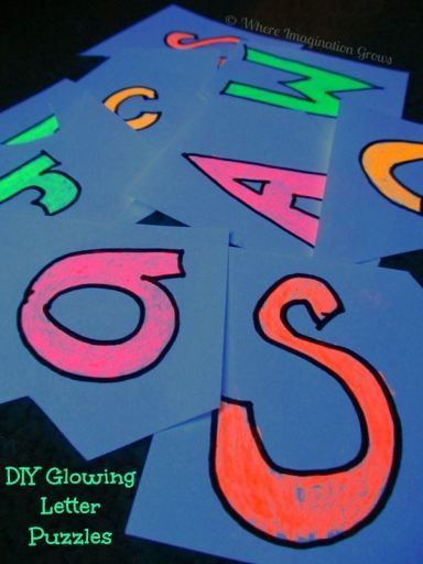 DIY Glow in the Dark Letter Puzzles! A fun ABC game for kids.