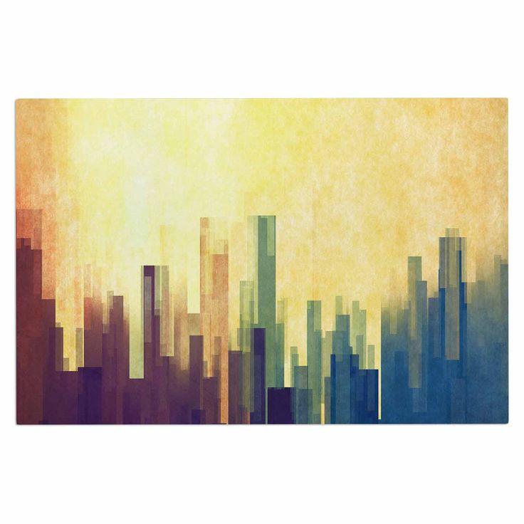 "Cvetelina Todorova ""Cloud City"" Yellow Purple Decorative Door Mat"