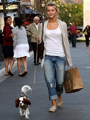 boyfriend jeans - top - long cardigan - flats