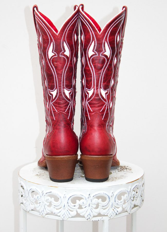 Red and White Macie Bean Cowboy Boots, back view