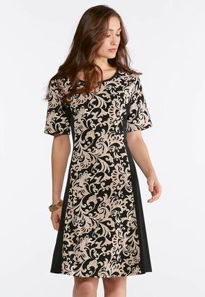 Plus Size Scroll Puff Print Dress A- Line   Amp   Swing Cato ... 0661efe37