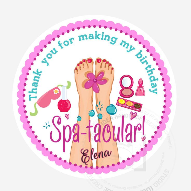 "Custom Spa-tacular Party Printable 2.5"" Tags-Personalized Beauty Theme Birthday 2.5 inches Tags- Stickers, DIY Spa Party Favor Tags by StudioIdea on Etsy"