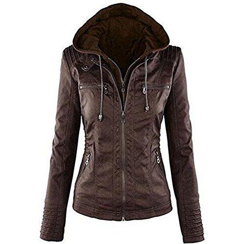 Eastway Femme Faxu Cuir Veste à Capuche Blouson Manteau Pour le Printemps Automne et l'hiver