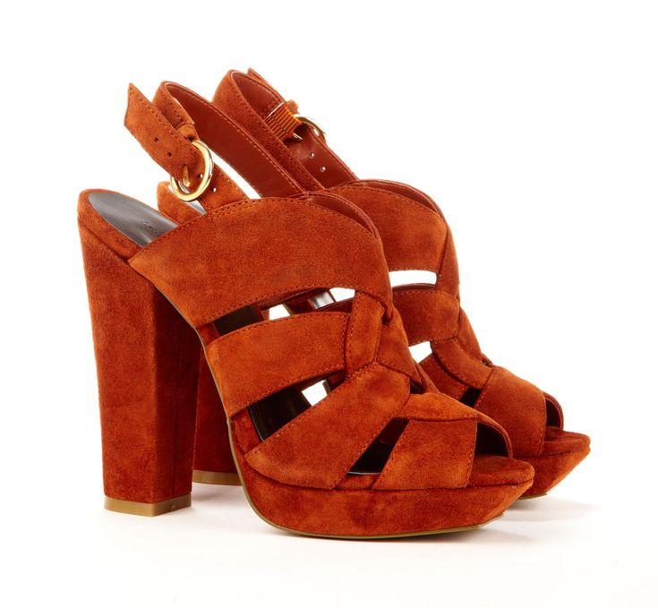 killer 70's style.: Shoes, Platform Slingback, Orange Heels, Burnt Orange, Colors, Brown Heels, Blocks Heels, Suede Platform, Chunky Heels