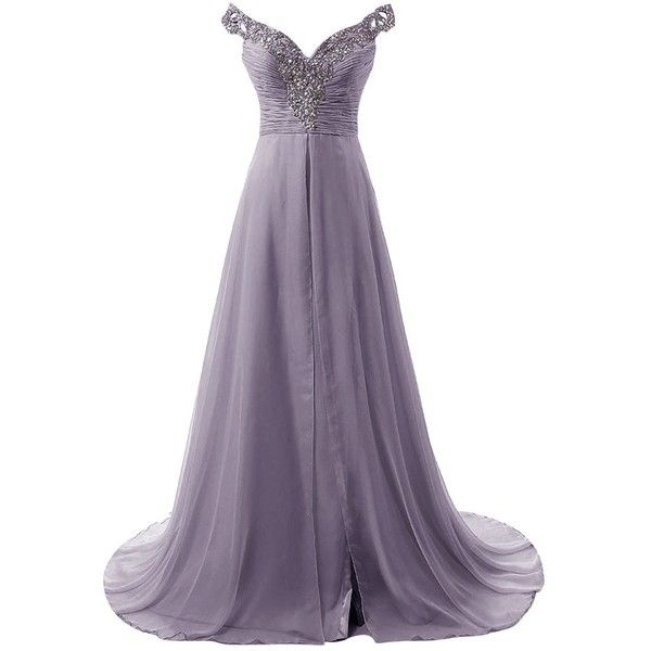 Dresstells Long Prom Dress Beadings Chiffon Bridal Evening Gowns with... ($95) ❤ liked on Polyvore featuring dresses, gowns, purple homecoming dresses, bridal gowns, prom gowns, long beaded gown and purple evening dresses