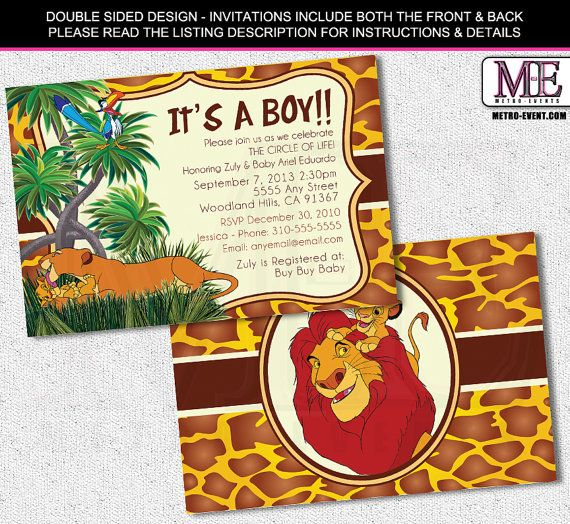 Lion King Baby Shower Invitations Lion King by MetroEvents on Etsy