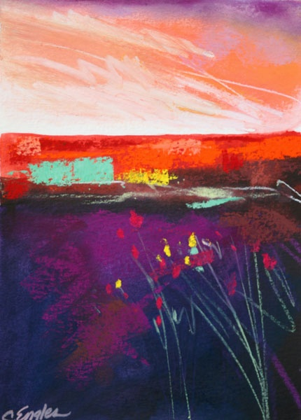 Carol Engles Art: Red and Violet, Four, abstract landscape by Carol Engles