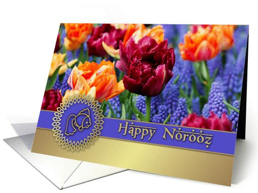 Happy Norooz. Spring Tulips Persian New Year Greeting Cards with personalized in...