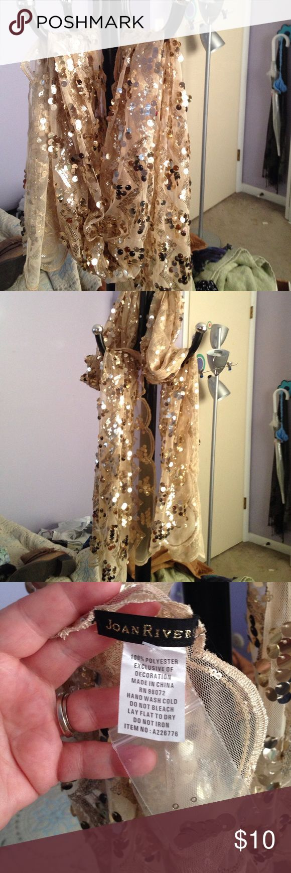Gold sequin scarf This is a really pretty scarf or can be worn as a shawl for that special night out, wedding,etc joan rivers Accessories Scarves & Wraps