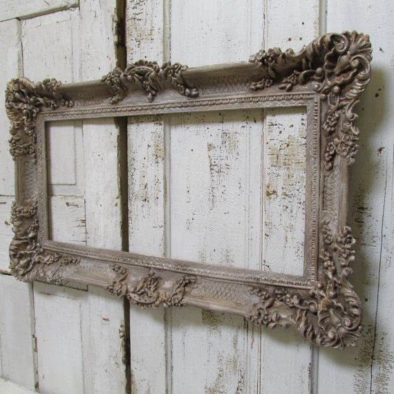 Large vintage frame ornate hand painted putty gray French farmhouse detailed antique gold aged wall decor Anita Spero Design