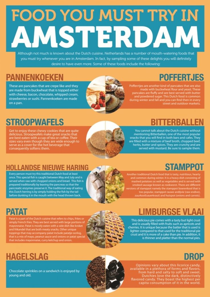 Food u must try in Amsterdam #chef #travel #infografias Dutch cuisine is unpretentious and friendly, just like the people themselves. They like to take time to enjoy their food, so meals are often relaxed; with people taking the opportunity to get together, talk and share some quality time. We have put a Top 10 of Dutch Foodies together for you.