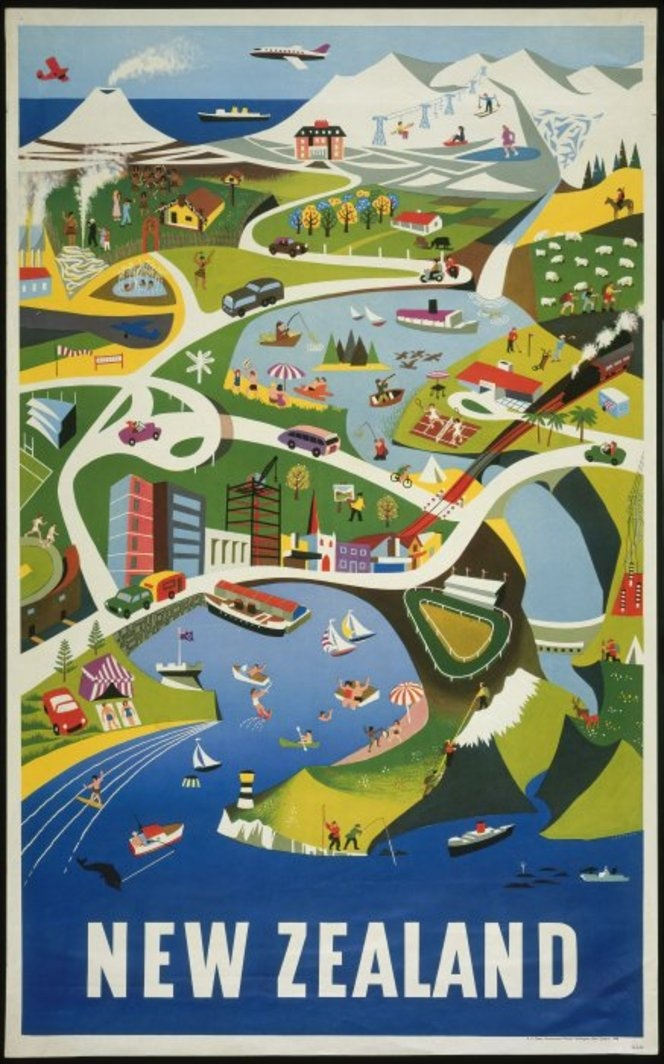 New Zealand Tourism Poster [1960] shows a stylised illustration of everyday life on a busy segment of the lower North Island of New Zealand, viewed from above. The view includes Wellington Harbour, Mount Ngauruhoe and the Central Plateau, Lake Taupo and Rotorua.