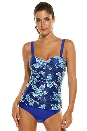3ea1c2076e Ekouaer Women's Underwire Push Up Floral Print Tankini Set Bathing Suit  Swimwear