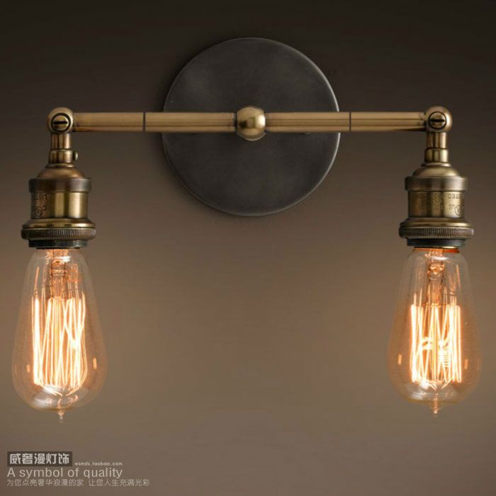 Vintage double copper wall lamp double shadeless wall sconce bare bulb wall mounted ofhead lamps two-burner lamp b8043(China (Mainland))
