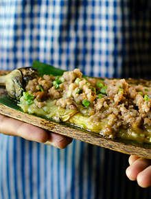 Cambodian recipes : Chargrilled eggplant with pork
