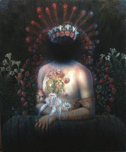 luci-fero....pesante ho l'anima di una tenebra perenne ... 1997-2007. olio su tela , cm 60 x 50