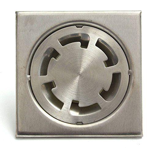 KING DO WAY 10cmX10cm Inox Drain De Plancher Douche Vidange Salle De Bain Cuisine Toilette Accessoire Shower Drain Floor-Argent Rond Pneu:…