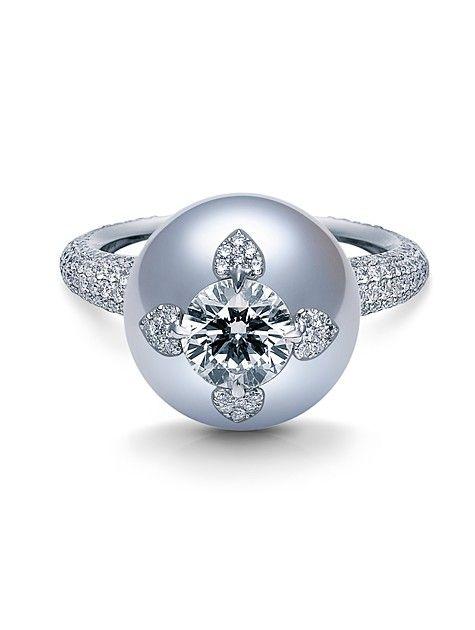 Brigitte & Stone Inspiration -www.pinterest.com/brigittenstone/ • Located at 11677 San Vicente Blvd., #111, Los Angeles • 310-935-2858 | Mikimoto Pearl & Diamond Ring