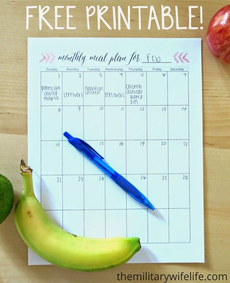 So cute and SO useful!! // Free Printable Monthly Meal Planner | The Military Wife Life www.themilitarywifelife.com