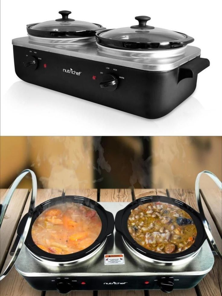 Electric Slow Cooker Dual Pot Steel Kitchen Appliance Bowls Cooking Bake Boil #ElectricSlowCooker