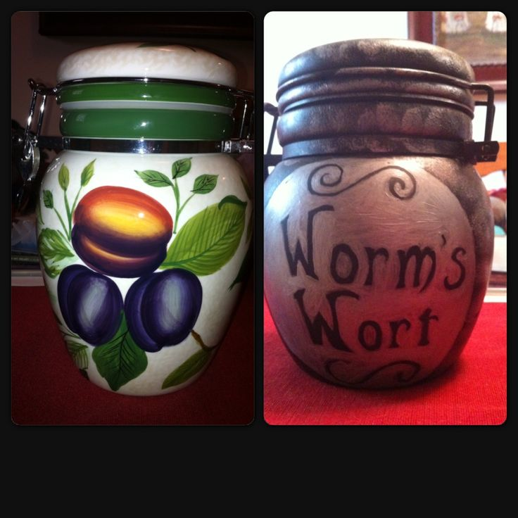 Home made Halloween jar from Nightmare Before Christmas. From fruit to Worms Wort.