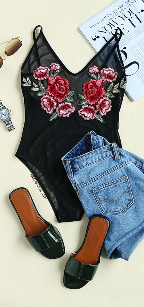 Low Back Floral Embroidery Mesh Bodysuit BLACK