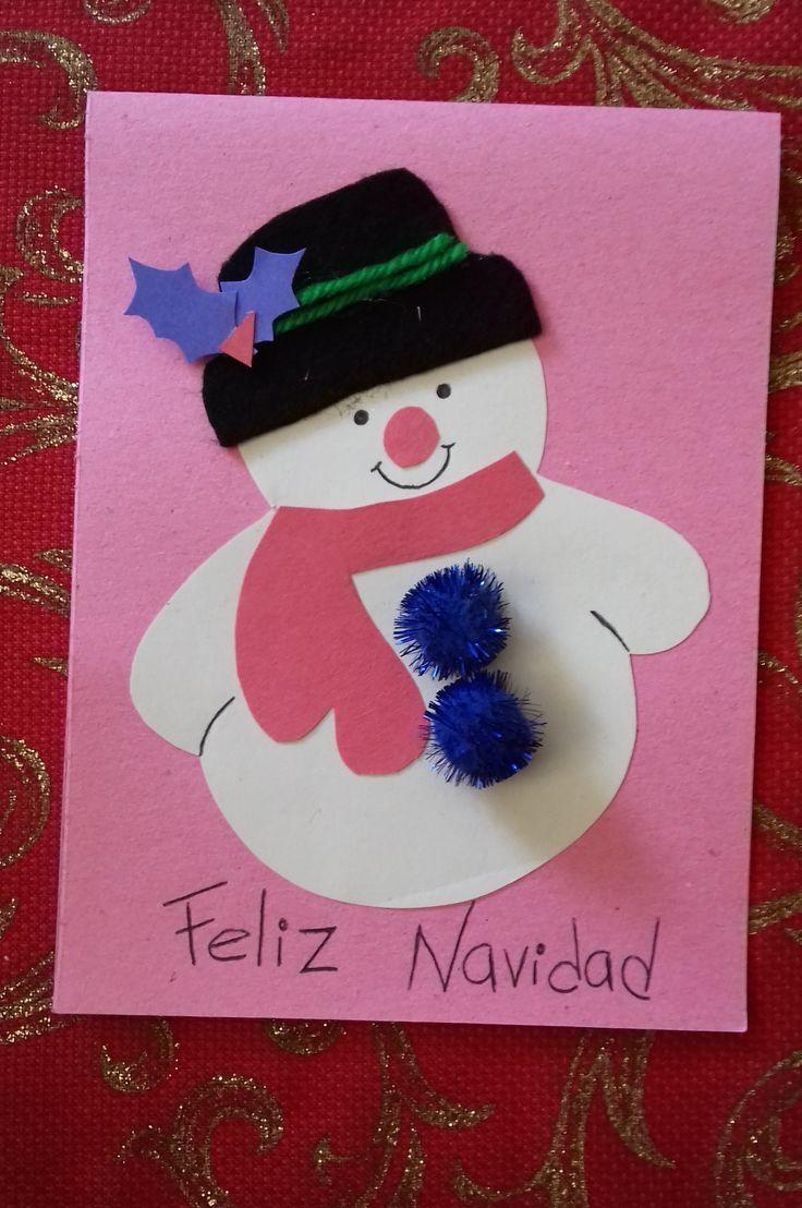 Tarjeta de SNOWMAN elaborado con papel cartulina de color rosa, papel cartulina de color blanco, fieltro negro, lana verde, bolillas azules y papel cartulina de color azul.  ¡Súper sencillo!