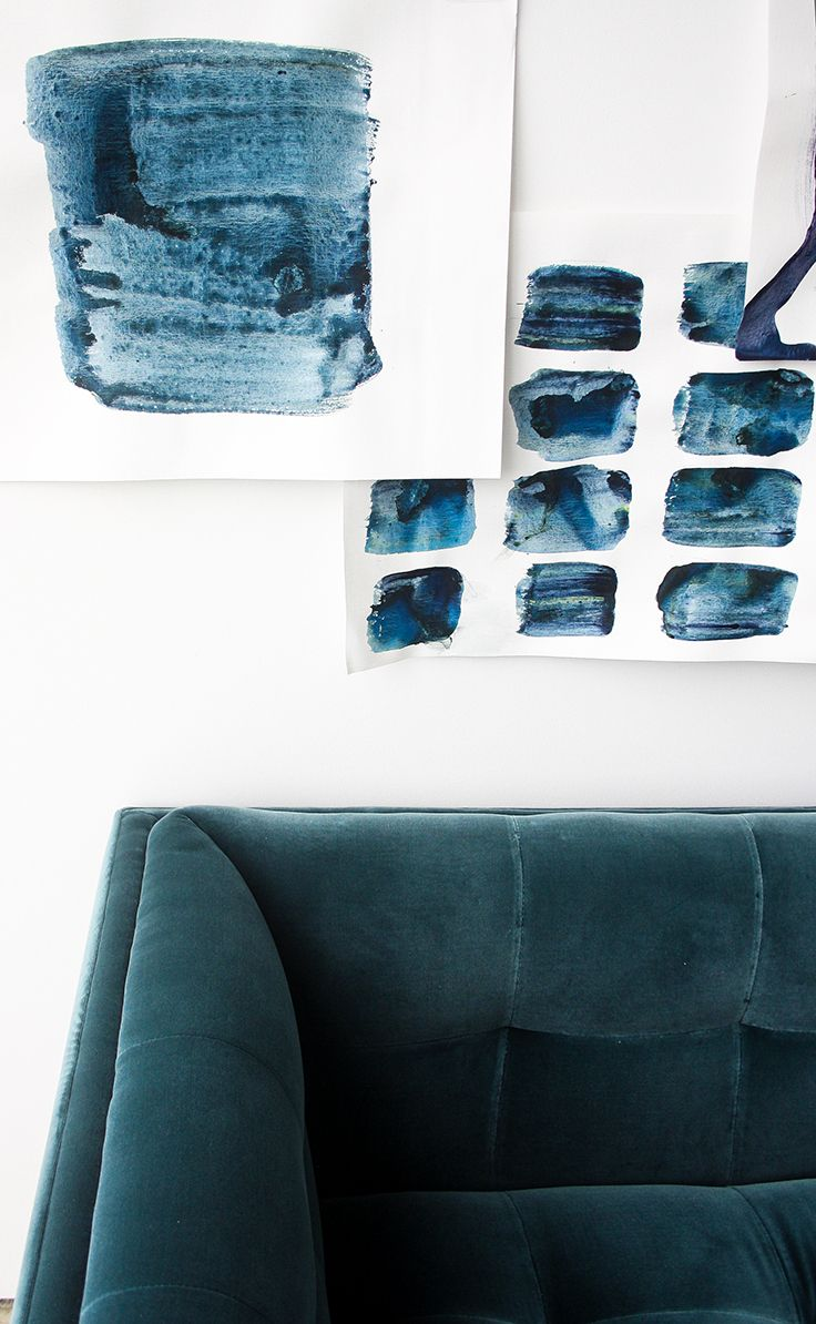 Blue Velvet Sofa, 3 Seater, Tufted | Article Cirrus Modern Furniture