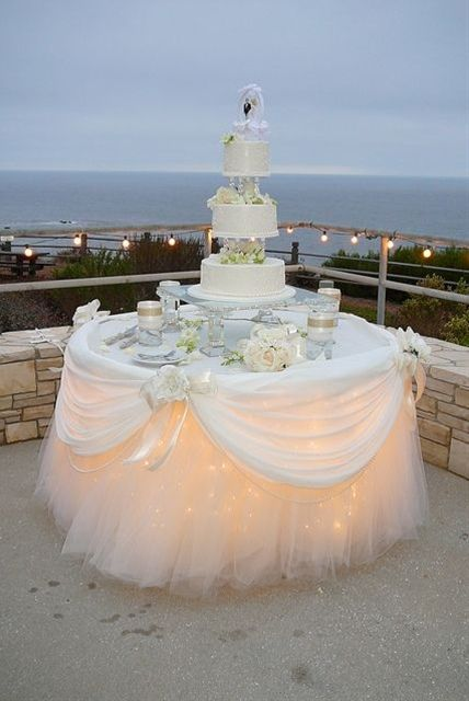 An outside evening wedding