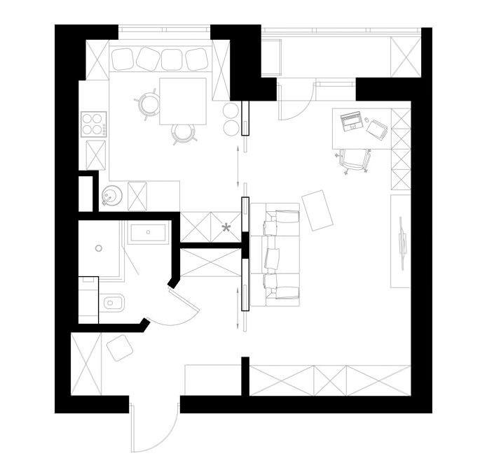планировка однокомнатной квартиры 39 кв. м.