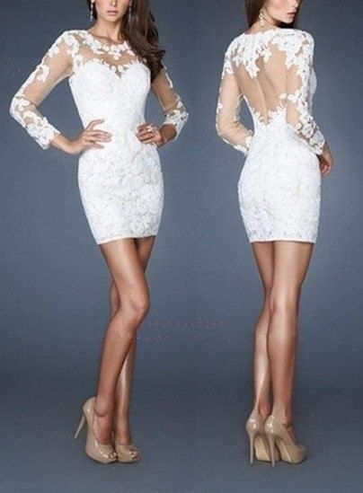 long sleeve lace short wedding dress prom ball homecoming cocktail evening