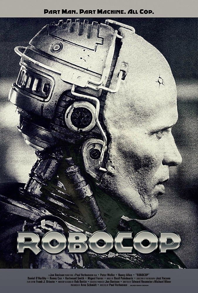 ROBOCOP (1987): In a dystopic and crime-ridden Detroit, a terminally wounded cop returns to the force as a powerful cyborg haunted by submerged memories.