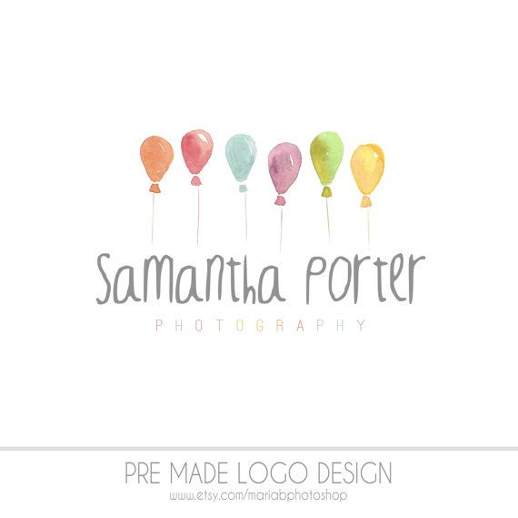 Pre made Photography Logo watercolor design by MariaBPhotoShop https://www.etsy.com/shop/MariaBPhotoShop